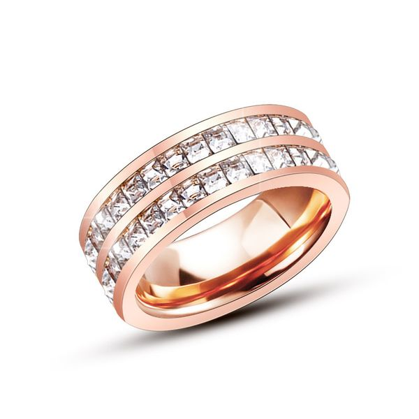 Titanium&Stainless Steel Fashion Geometric Ring  (Single row steel color -5) NHOK0013-Single-row-steel-color-5