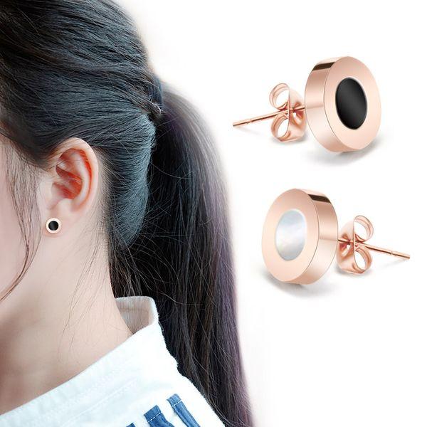 Titanium&Stainless Steel Korea Geometric earring  (Rose alloy + white shell) NHOK0075-Rose-alloy-white-shell