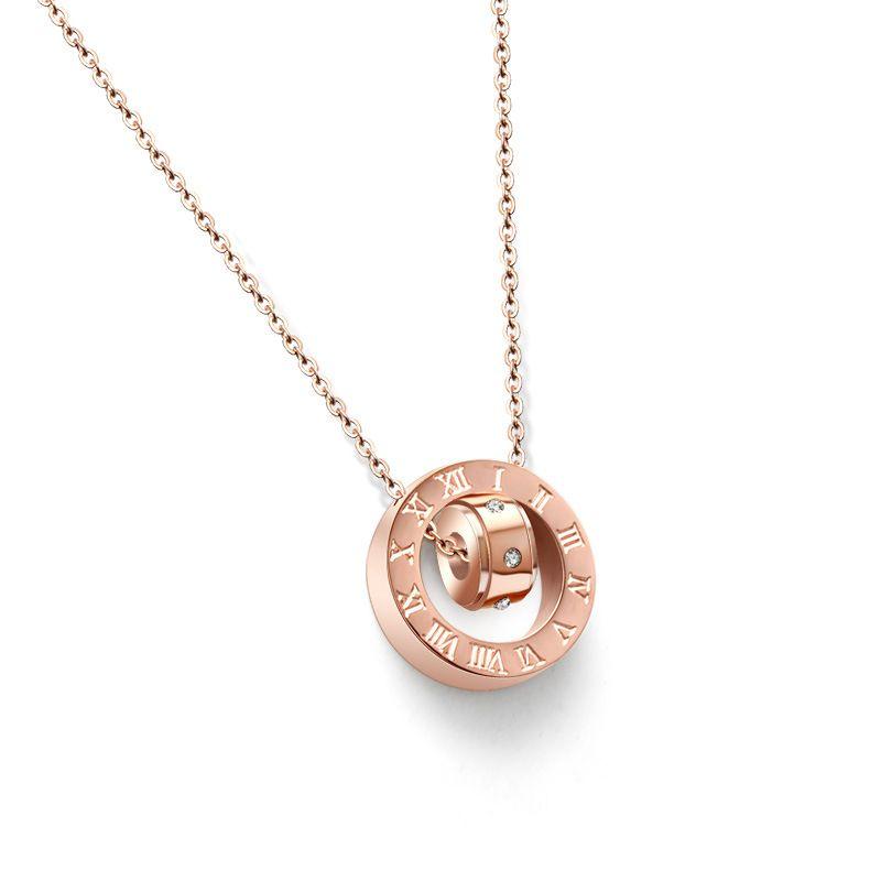 Titanium&Stainless Steel Korea Geometric necklace  (Rose alloy) NHOK0105-Rose-alloy