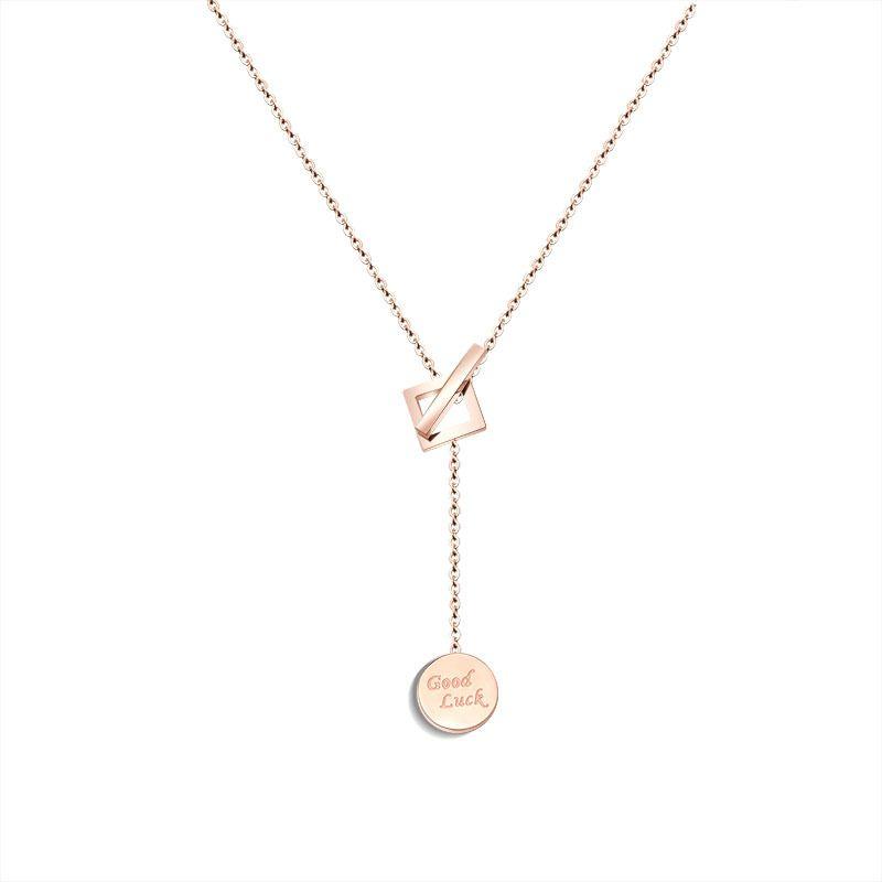 TitaniumStainless Steel Korea Geometric necklace  Rose alloy NHOK0117Rosealloy