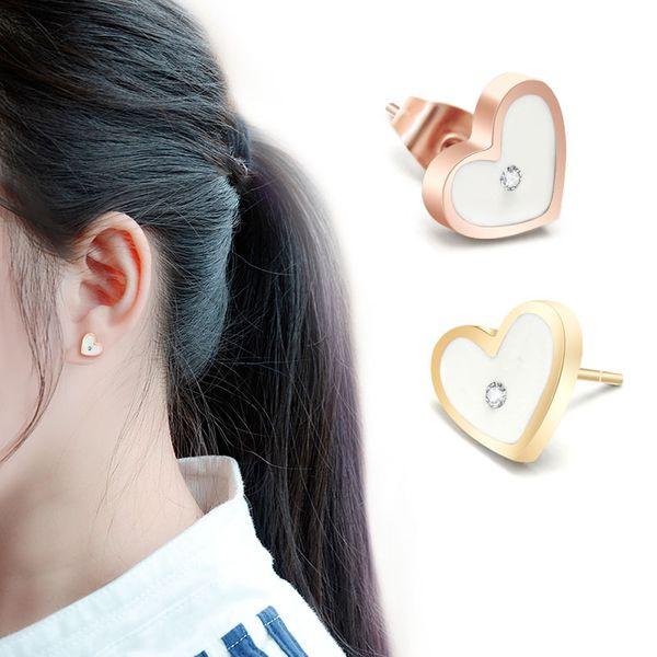 Titanium&Stainless Steel Simple Sweetheart earring  (Rose alloy) NHOK0195-Rose-alloy