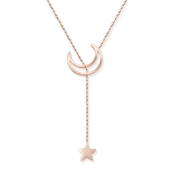 Titanium&Stainless Steel Fashion Geometric necklace  (Rose alloy) NHOK0241-Rose-alloy