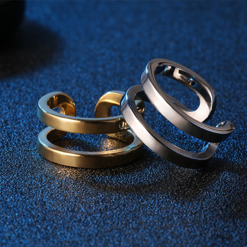Titanium&Stainless Steel Fashion Geometric Ring  (Black-5) NHOK0284-Black-5