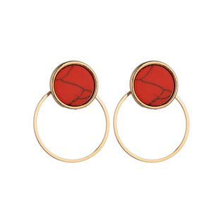 Alloy Korea Geometric earring  (Round red) NHBQ1653-Round-red's discount tags