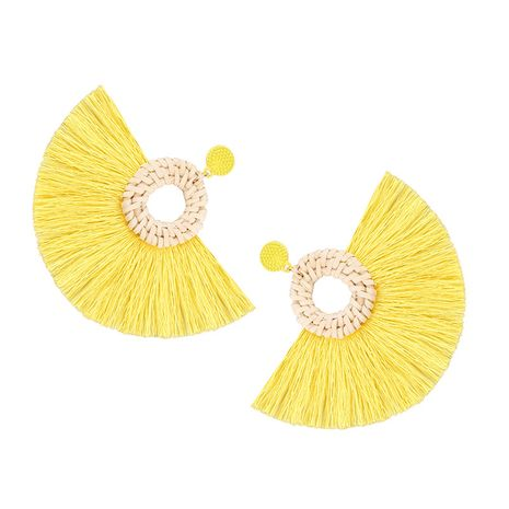 Cloth Fashion Tassel earring  (yellow) NHJQ10520-yellow's discount tags