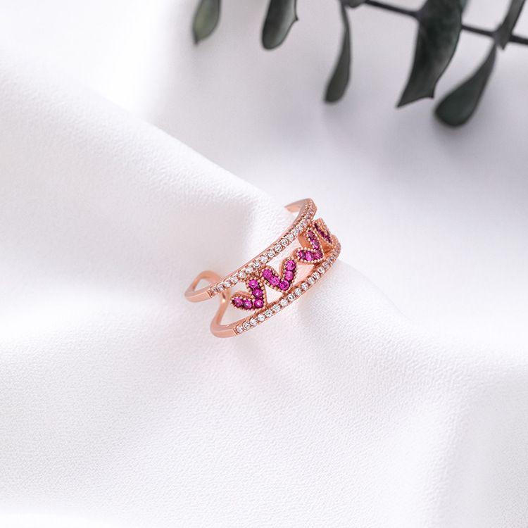 Alloy Korea Sweetheart Ring  H7316 rose alloy NHMS1197H7316rosealloy