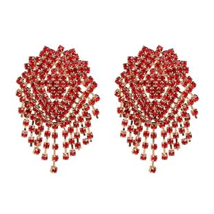 Imitated crystal&CZ Fashion Tassel earring  (red) NHJJ5048-red's discount tags