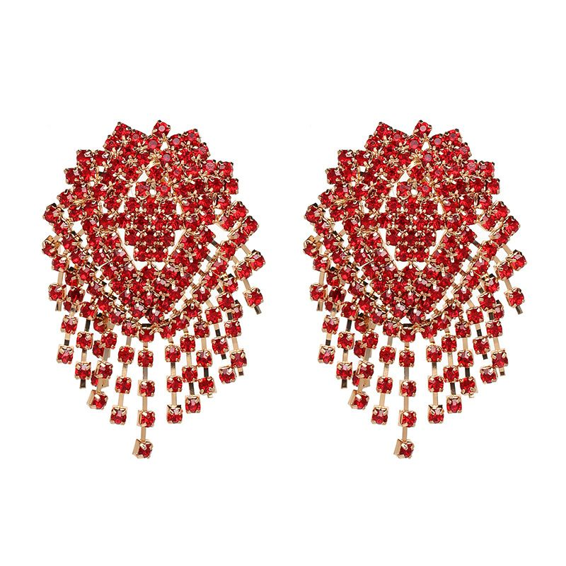 Imitated crystal&CZ Fashion Tassel earring  (red) NHJJ5048-red