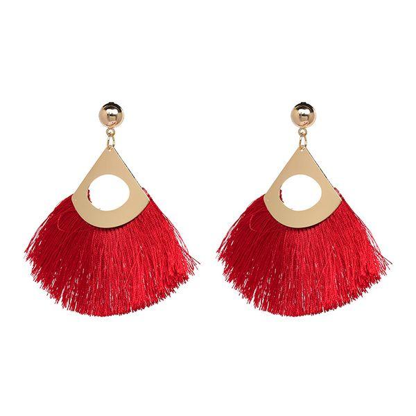 Alloy Fashion Tassel earring  (red) NHJJ5049-red
