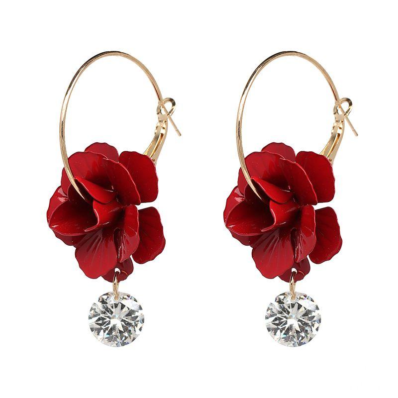 Alloy Korea Flowers earring  (red) NHJJ5058-red