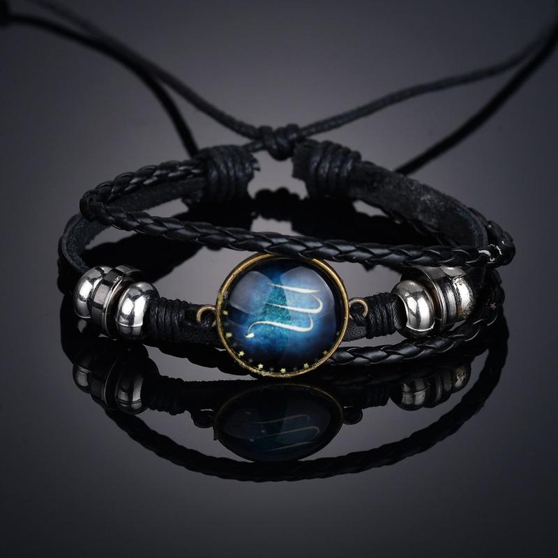 Leather Fashion Geometric bracelet  (Scorpio) NHBQ1656-Scorpio