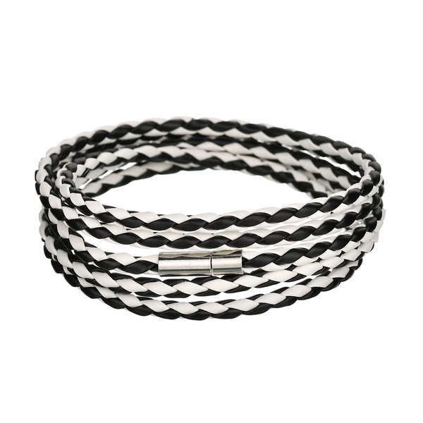 Leather Fashion Geometric bracelet  (Black and white) NHBQ1666-Black-and-white