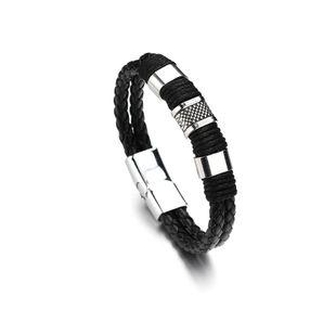 Leather Simple Geometric bracelet  (black) NHBQ1668-black's discount tags