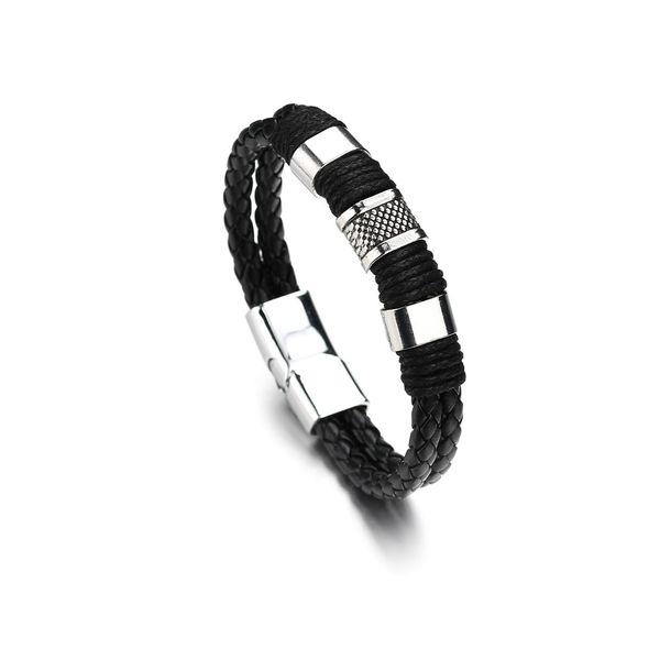 Leather Simple Geometric bracelet  (black) NHBQ1668-black
