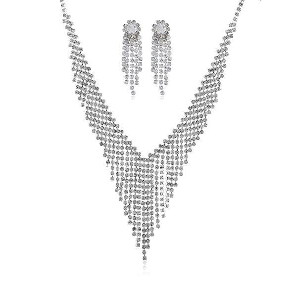 Alloy Bohemia Tassel Bridal jewelry  (White K white) NHKQ1851-White-K-white