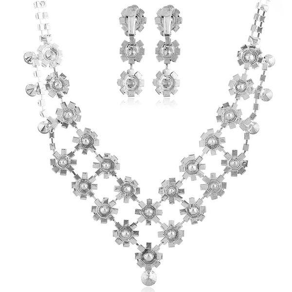 Alloy Bohemia Flowers Bridal jewelry  (White K white) NHKQ1854-White-K-white