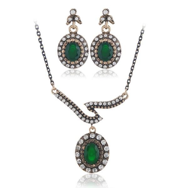 Alloy Bohemia  necklace  (Ancient KC alloy green) NHKQ1856-Ancient-KC-alloy-green