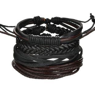 Leather Fashion Geometric bracelet  (black) NHBQ1673-black's discount tags