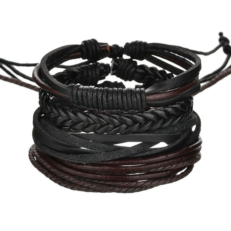 Leather Fashion Geometric bracelet  black NHBQ1673black