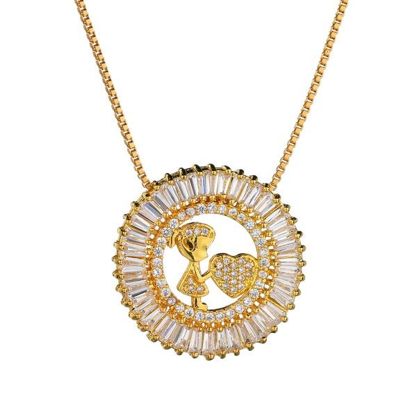 Copper Korea Geometric necklace  (Alloy) NHBQ1675-Alloy