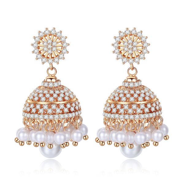 Alloy Fashion Geometric earring  (Champagne alloy) NHTM0309-Champagne-alloy