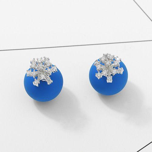 Alloy Korea Flowers earring  (Blue + platinum) NHTM0313-Blue-platinum