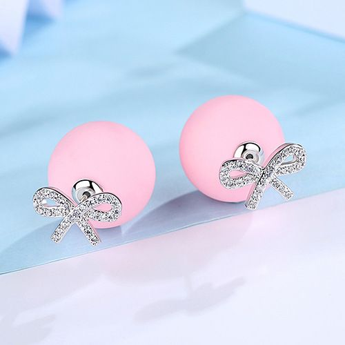 Alloy Korea Bows earring  (Pink plated platinum) NHTM0331-Pink-plated-platinum