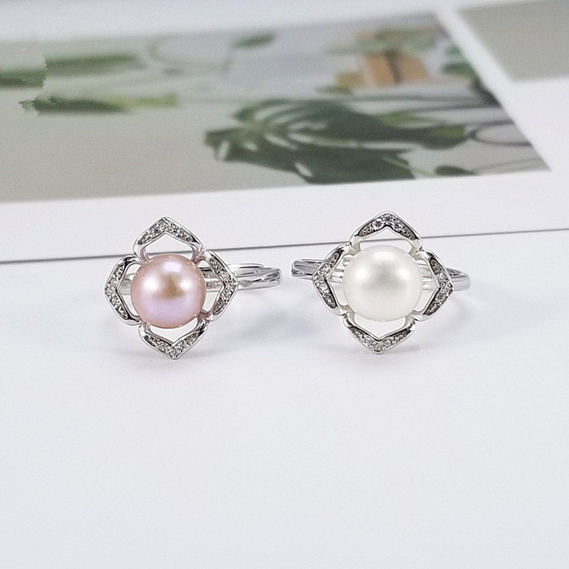 Alloy Korea Geometric Ring  (White beads) NHDY1002-White-beads