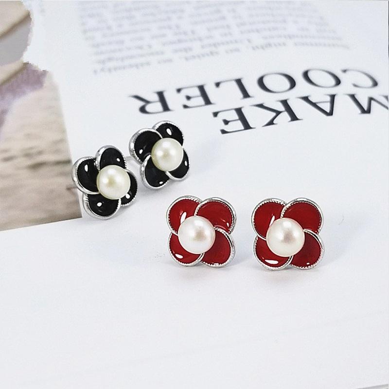 Alloy Korea Geometric earring  (White beads) NHDY1006-White-beads