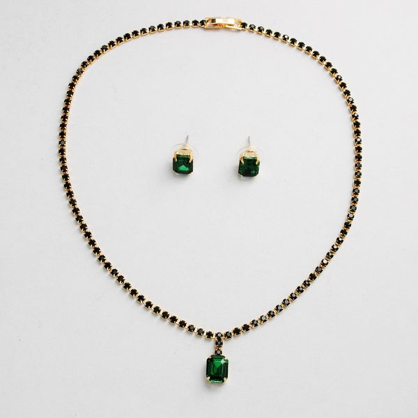 Imitated crystal&CZ Fashion  necklace  (Green-glass) NHHS0515-Green-glass
