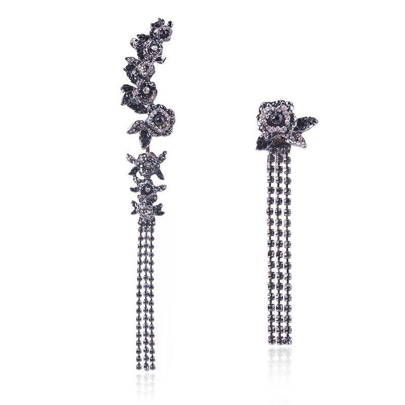 Alloy Fashion Flowers earring  (black) NHNMD4666-black