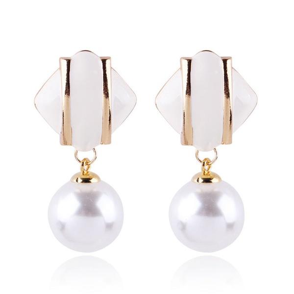 Alloy Fashion Geometric earring  (white) NHNMD4672-white