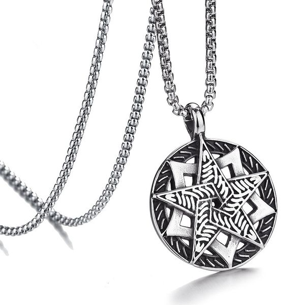 Titanium&Stainless Steel Fashion Geometric necklace  (Steel color) NHHF0934-Steel-color