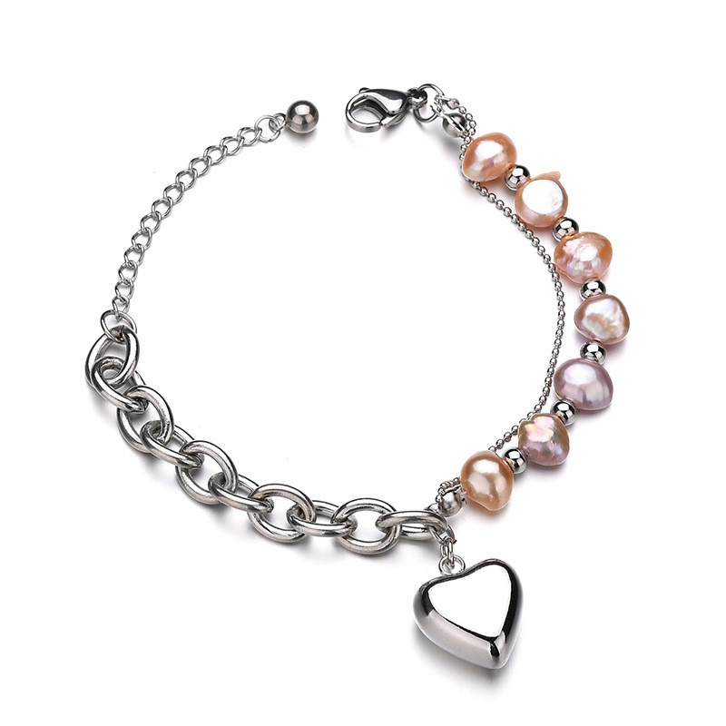 Titanium&Stainless Steel Korea Geometric bracelet  (Steel color) NHHF0937-Steel-color