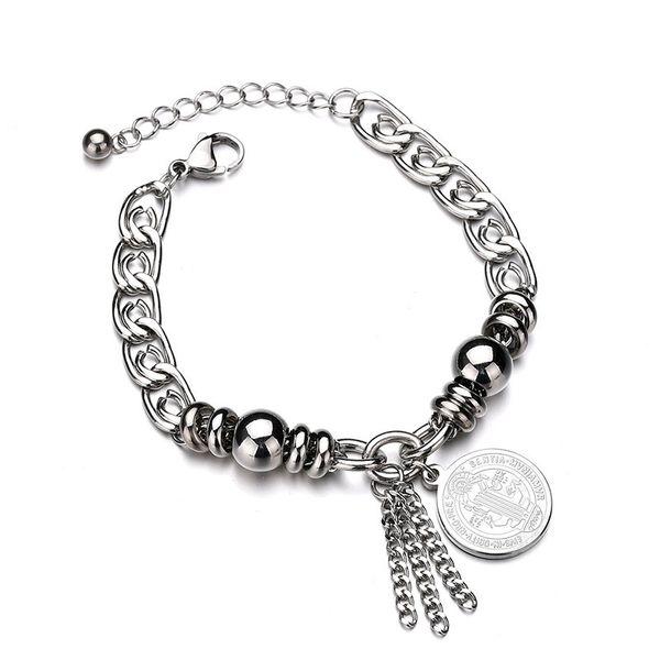 Titanium&Stainless Steel Punk Geometric bracelet  (Steel color) NHHF0938-Steel-color
