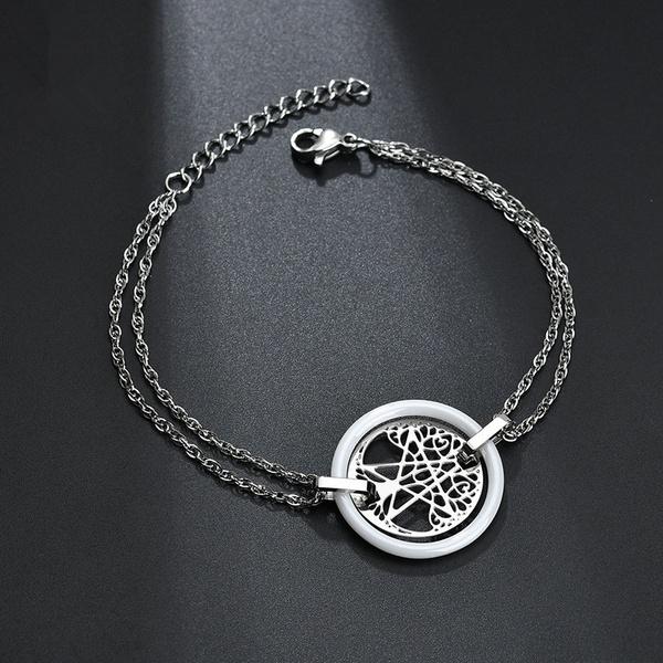 Titanium&Stainless Steel Simple Geometric bracelet  (white) NHHF0941-white