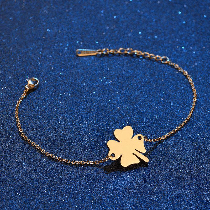 Titanium&Stainless Steel Simple Flowers bracelet  (Steel color) NHHF0946-Steel-color
