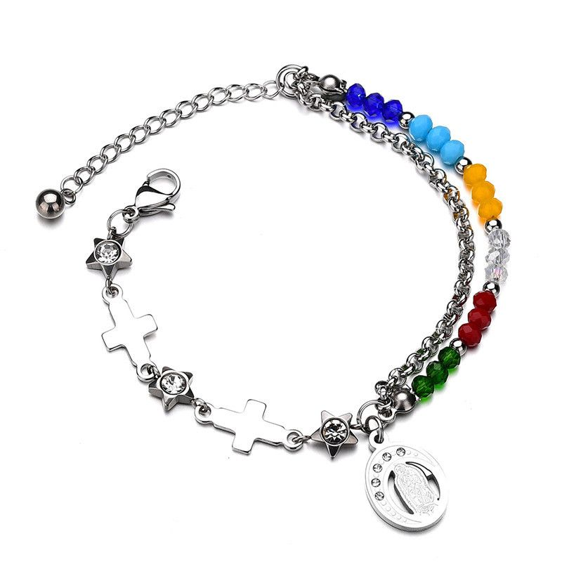 Titanium&Stainless Steel Punk Geometric bracelet  (Multicolor) NHHF0949-Multicolor