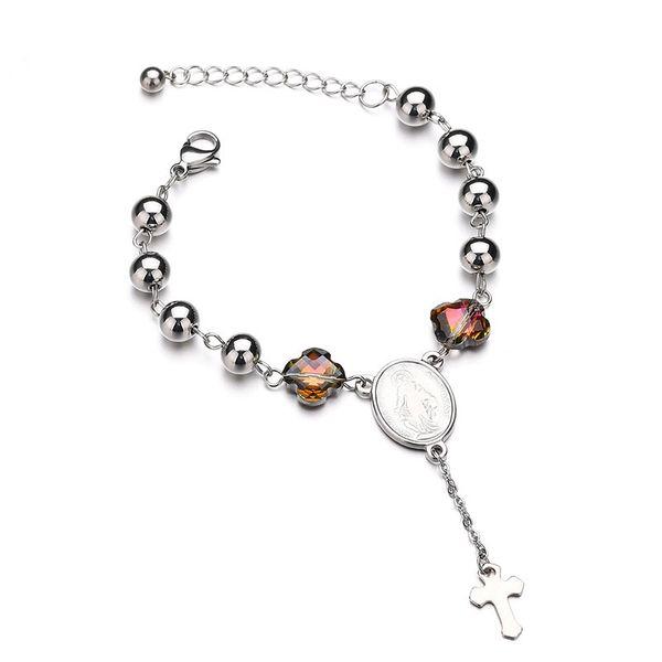 Titanium&Stainless Steel Punk Geometric bracelet  (Steel color) NHHF0956-Steel-color