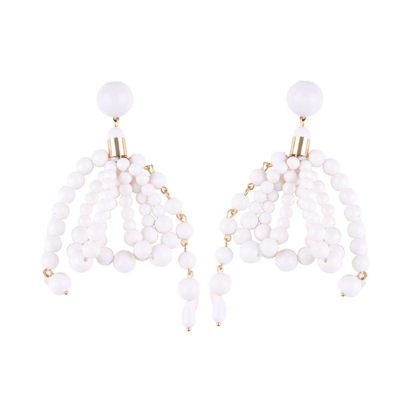Plastic Fashion  earring  (white) NHJQ10614-white
