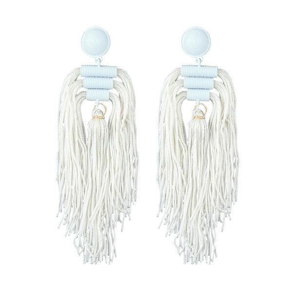 Alloy Simple Tassel earring  (white) NHJQ10629-white