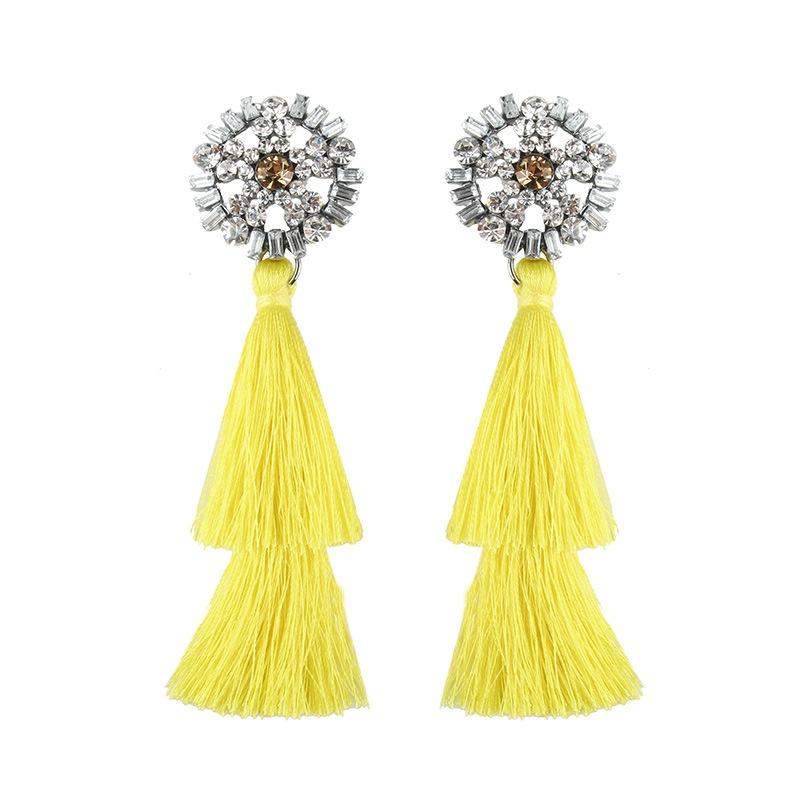 Alloy Vintage Tassel earring  (yellow) NHJQ10631-yellow