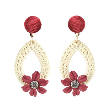Alloy Simple Flowers earring  (red) NHJQ10632-red's discount tags