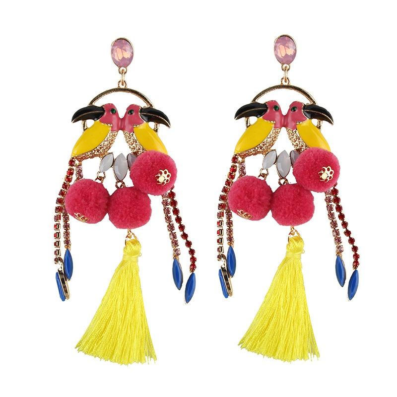 Cloth Bohemia Tassel earring  (yellow) NHJQ10634-yellow