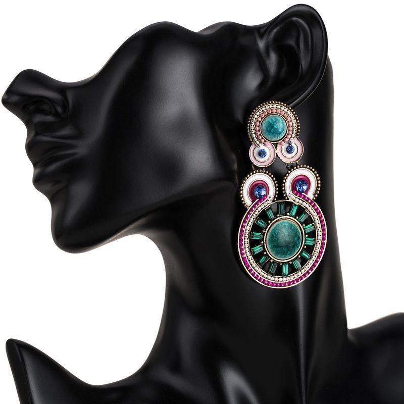 Alloy Fashion Geometric earring  (Pink green) NHJE1838-Pink-green