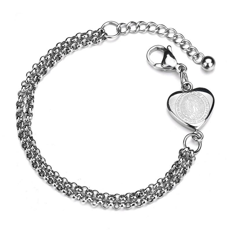 Titanium&Stainless Steel Punk Sweetheart bracelet  (Steel color) NHHF0965-Steel-color