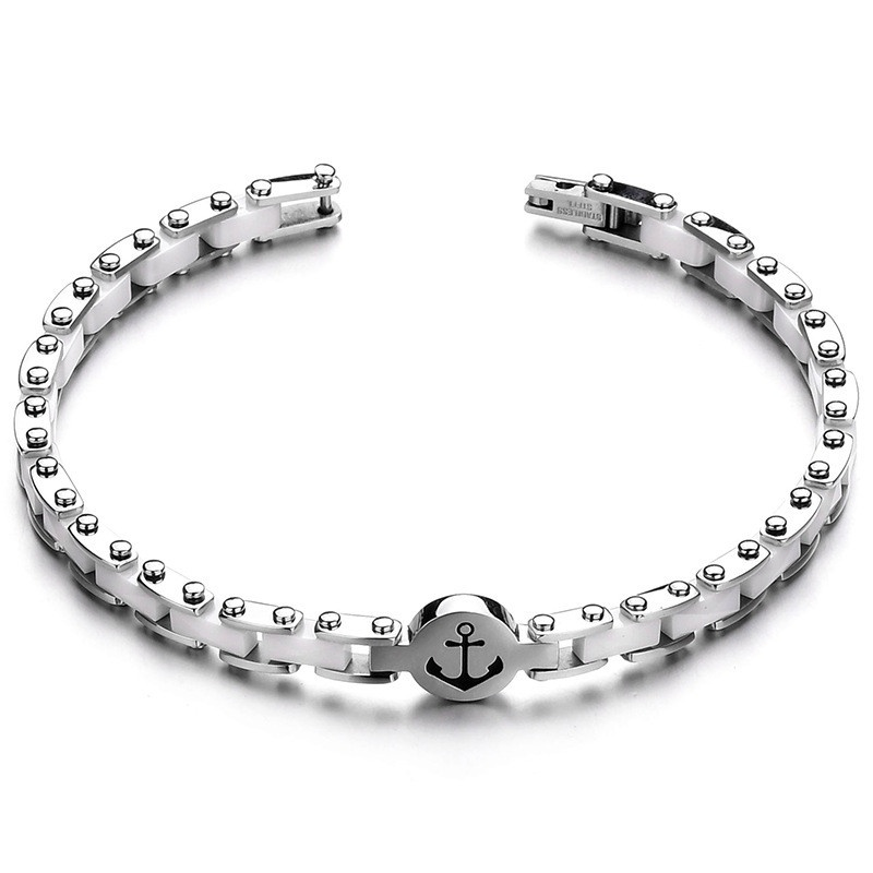 Titanium&Stainless Steel Fashion Geometric bracelet  (white) NHHF0967-white