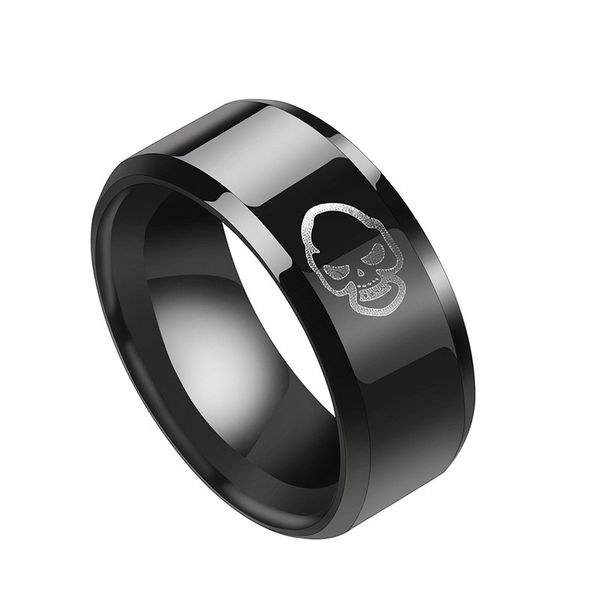 Titanium&Stainless Steel Simple Geometric Ring  (Black-7) NHHF0968-Black-7