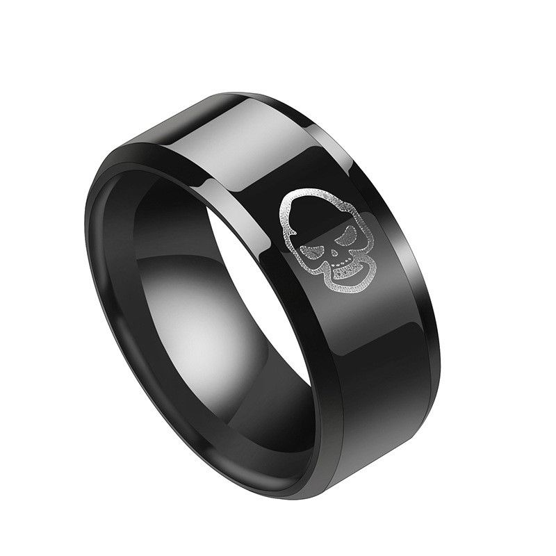 Titanium&Stainless Steel Simple Geometric Ring  (Black-7) NHHF0968-Black-7