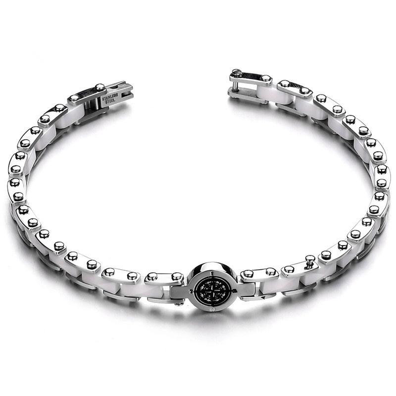Titanium&Stainless Steel Fashion Geometric bracelet  (white) NHHF0969-white